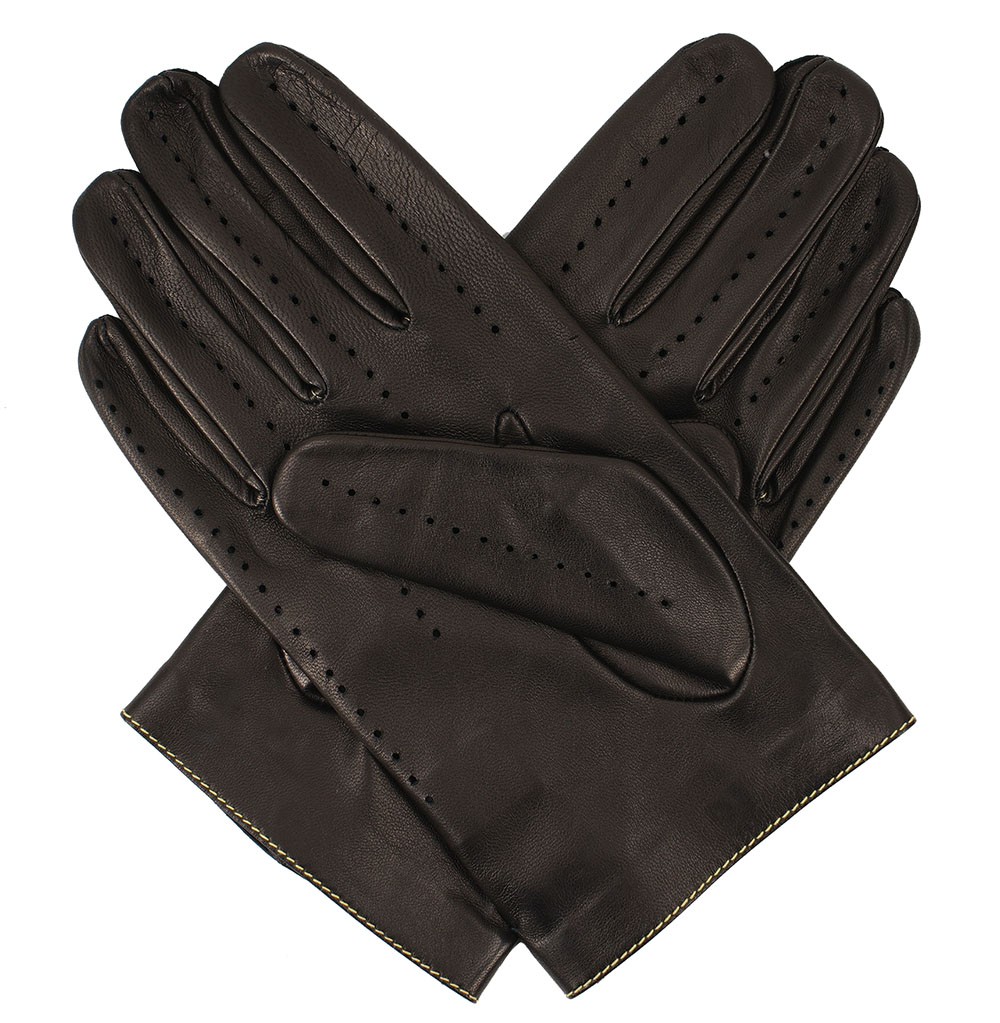 Leather mens gloves uk - Men S Leather Driving Gloves Black Yellow